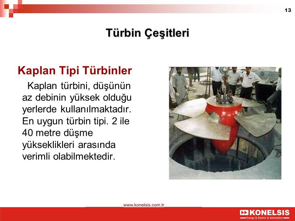 13 Türbin Çeşitleri Kaplan Tipi Türbinler Kaplan türbini, düşünün az debinin yüksek olduğu yerlerde kullanılmaktadır. En uygun türbin tipi. 2 ile 40 m