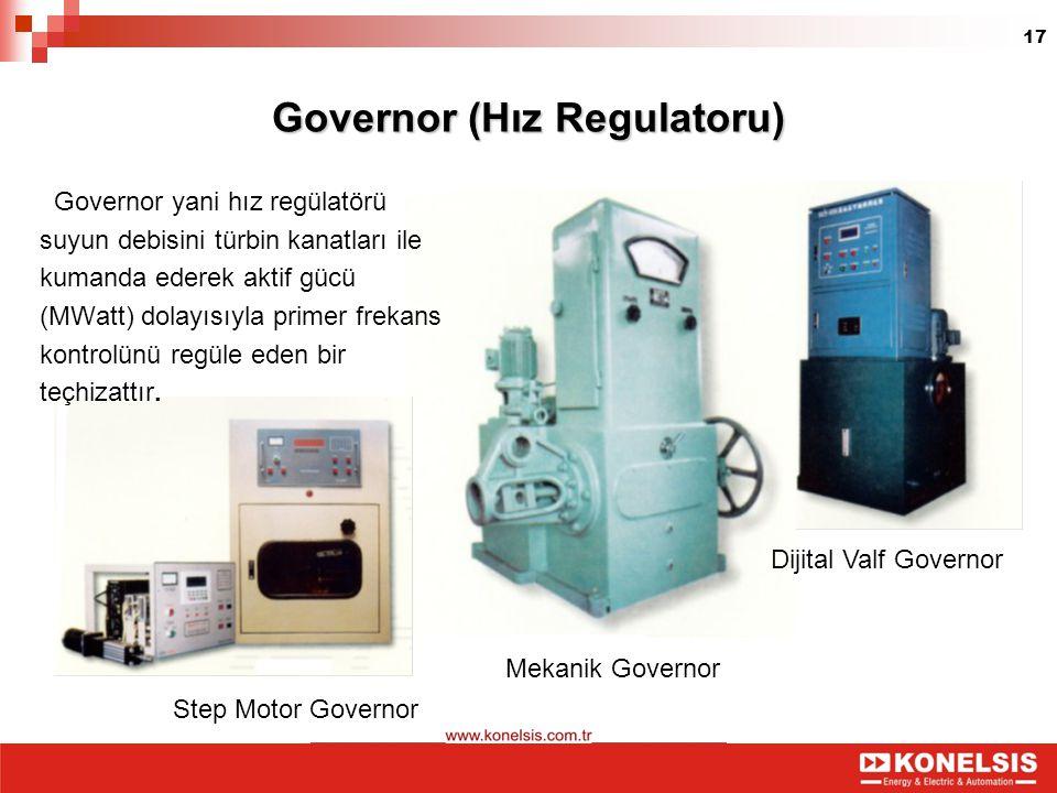 17 Governor (Hız Regulatoru) Governor yani hız regülatörü suyun debisini türbin kanatları ile kumanda ederek aktif gücü (MWatt) dolayısıyla primer fre