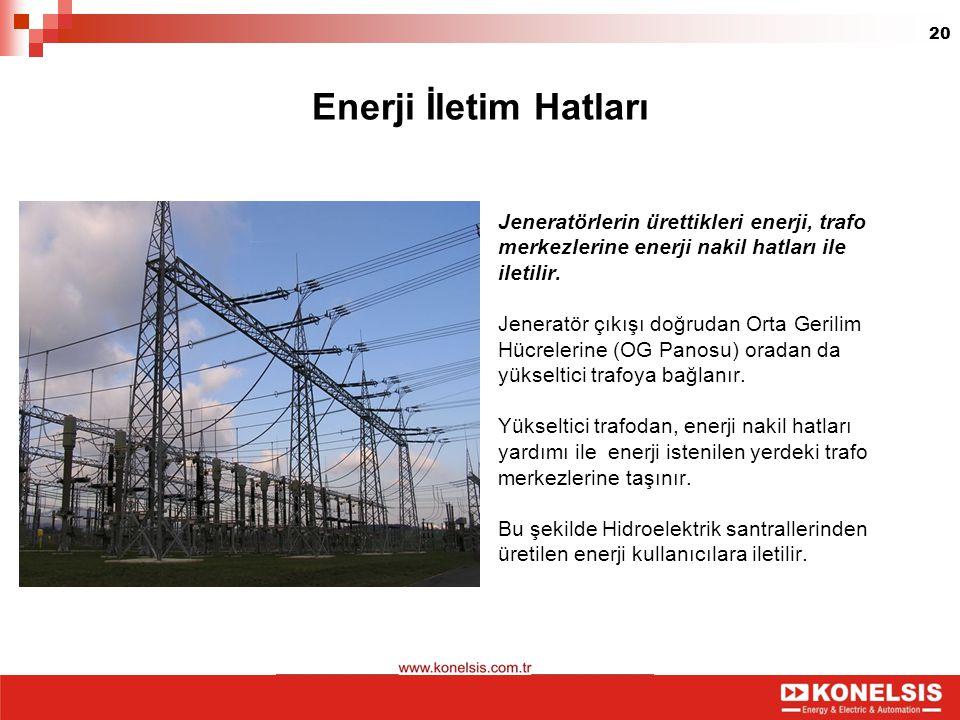 20 Enerji İletim Hatları Jeneratörlerin ürettikleri enerji, trafo merkezlerine enerji nakil hatları ile iletilir. Jeneratör çıkışı doğrudan Orta Geril