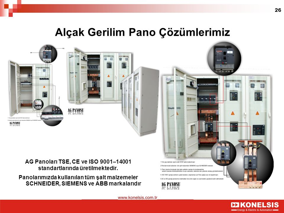 26 Alçak Gerilim Pano Çözümlerimiz AG Panoları TSE, CE ve ISO 9001–14001 standartlarında üretilmektedir. Panolarımızda kullanılan tüm şalt malzemeler