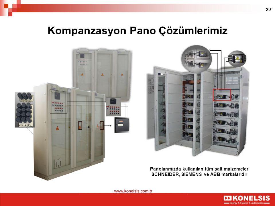 27 Kompanzasyon Pano Çözümlerimiz Panolarımızda kullanılan tüm şalt malzemeler SCHNEIDER, SIEMENS ve ABB markalarıdır