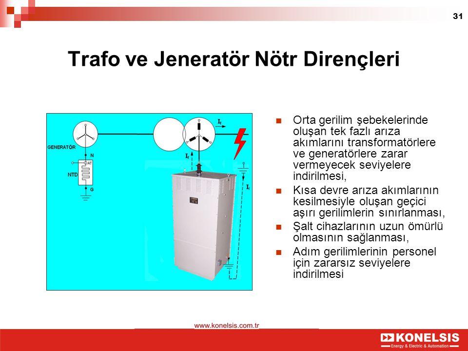 31 Trafo ve Jeneratör Nötr Dirençleri Orta gerilim şebekelerinde oluşan tek fazlı arıza akımlarını transformatörlere ve generatörlere zarar vermeyecek