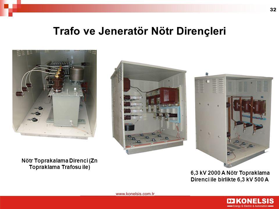 32 Nötr Toprakalama Direnci (Zn Topraklama Trafosu ile) Trafo ve Jeneratör Nötr Dirençleri 6,3 kV 2000 A Nötr Topraklama Direnci ile birlikte 6,3 kV 5