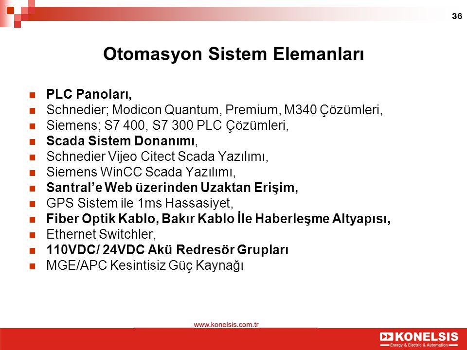 36 Otomasyon Sistem Elemanları PLC Panoları, Schnedier; Modicon Quantum, Premium, M340 Çözümleri, Siemens; S7 400, S7 300 PLC Çözümleri, Scada Sistem