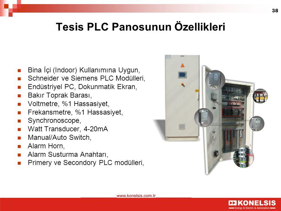 38 Tesis PLC Panosunun Özellikleri Bina İçi (Indoor) Kullanımına Uygun, Schneider ve Siemens PLC Modülleri, Endüstriyel PC, Dokunmatik Ekran, Bakır To