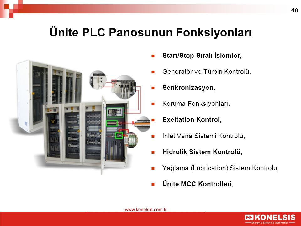 40 Ünite PLC Panosunun Fonksiyonları Start/Stop Sıralı İşlemler, Generatör ve Türbin Kontrolü, Senkronizasyon, Koruma Fonksiyonları, Excitation Kontro