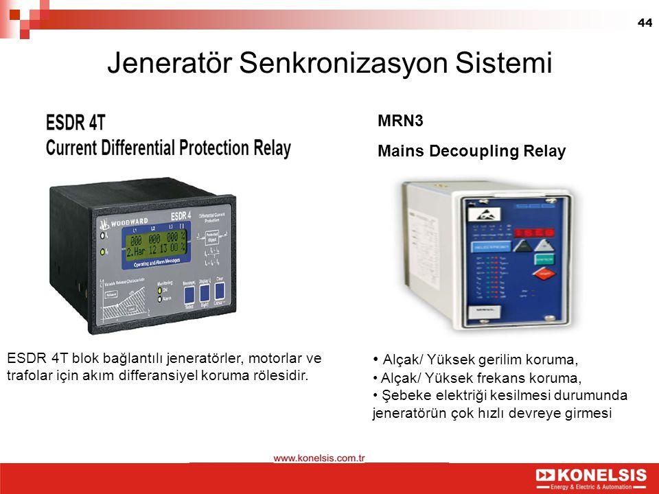 44 Jeneratör Senkronizasyon Sistemi ESDR 4T blok bağlantılı jeneratörler, motorlar ve trafolar için akım differansiyel koruma rölesidir. Alçak/ Yüksek