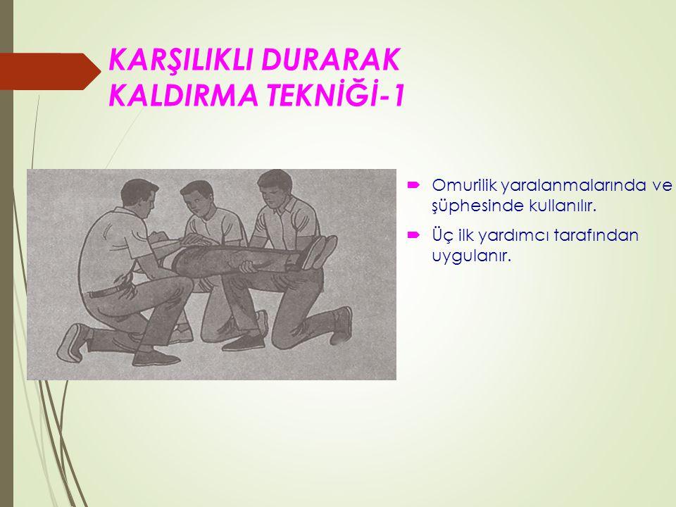 KARŞILIKLI DURARAK KALDIRMA TEKNİĞİ-1  Omurilik yaralanmalarında ve şüphesinde kullanılır.
