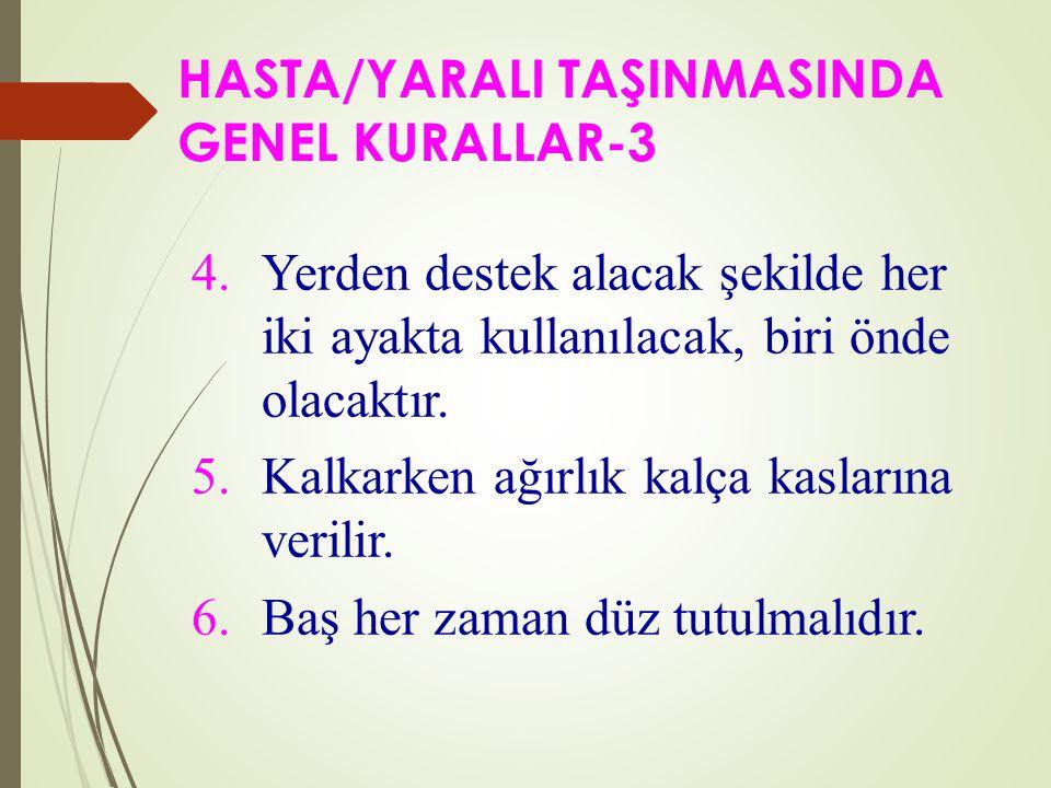SEDYE İLE TAŞIMADA GENEL KURALLAR- 3  Sedyeyi yönlendiren bir sorumlu olmalı ve komut vermelidir.