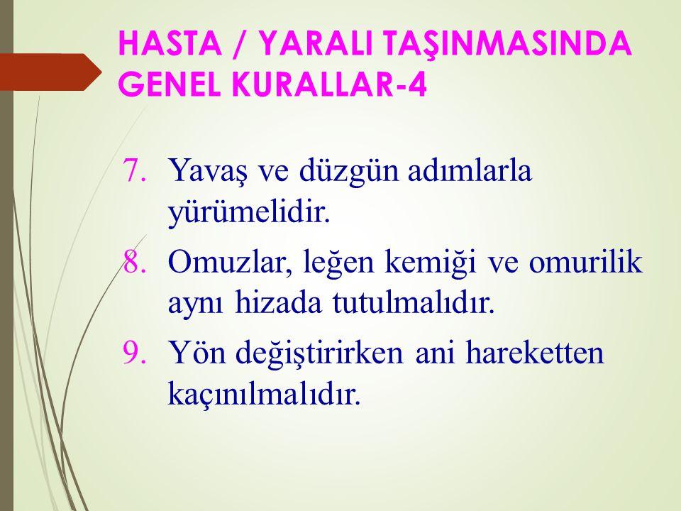 HASTA / YARALI TAŞINMASINDA GENEL KURALLAR-4 7.Yavaş ve düzgün adımlarla yürümelidir.