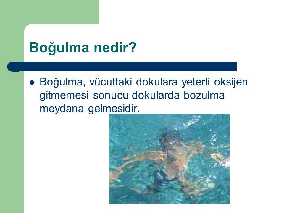 Boğulma nedir? Boğulma, vücuttaki dokulara yeterli oksijen gitmemesi sonucu dokularda bozulma meydana gelmesidir.