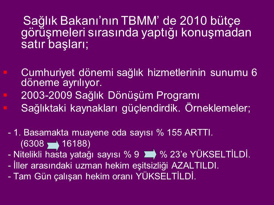 Sağlık Bakanı'nın TBMM' de 2010 bütçe görüşmeleri sırasında yaptığı konuşmadan satır başları;  Cumhuriyet dönemi sağlık hizmetlerinin sunumu 6 döneme ayrılıyor.