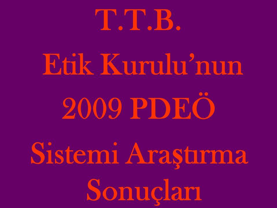 T.T.B. Etik Kurulu'nun 2009 PDEÖ Sistemi Ara ş tırma Sonuçları