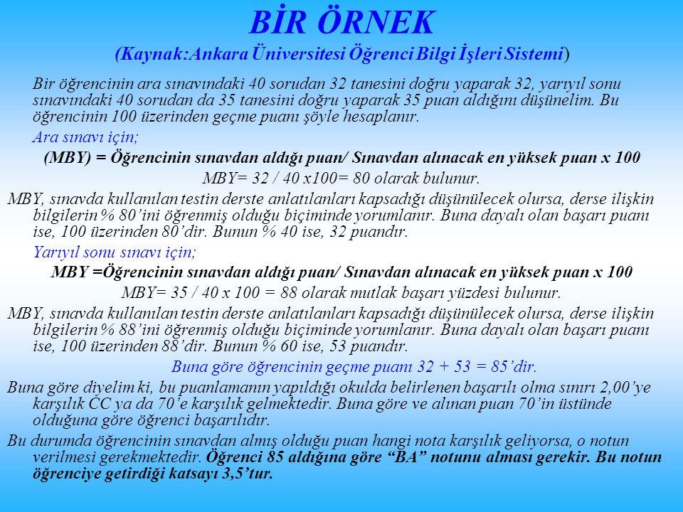 BİR ÖRNEK (Kaynak:Ankara Üniversitesi Öğrenci Bilgi İşleri Sistemi) Bir öğrencinin ara sınavındaki 40 sorudan 32 tanesini doğru yaparak 32, yarıyıl so