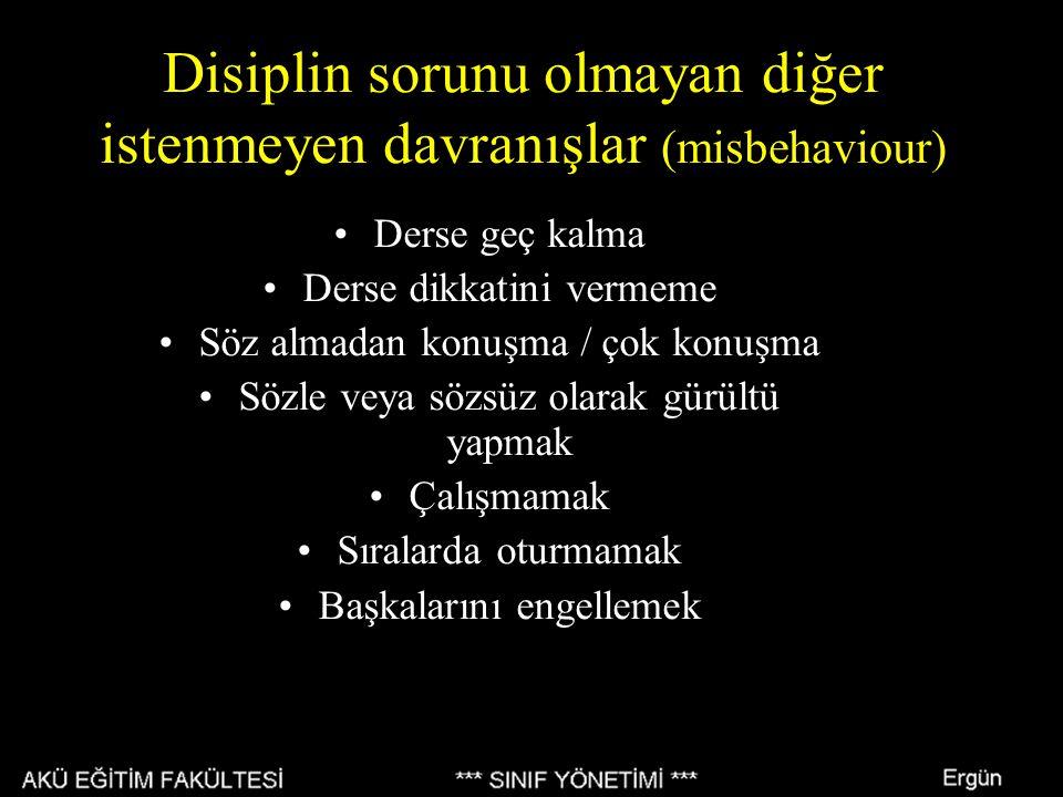Disiplin sorunu olmayan diğer istenmeyen davranışlar (misbehaviour) Derse geç kalma Derse dikkatini vermeme Söz almadan konuşma / çok konuşma Sözle ve