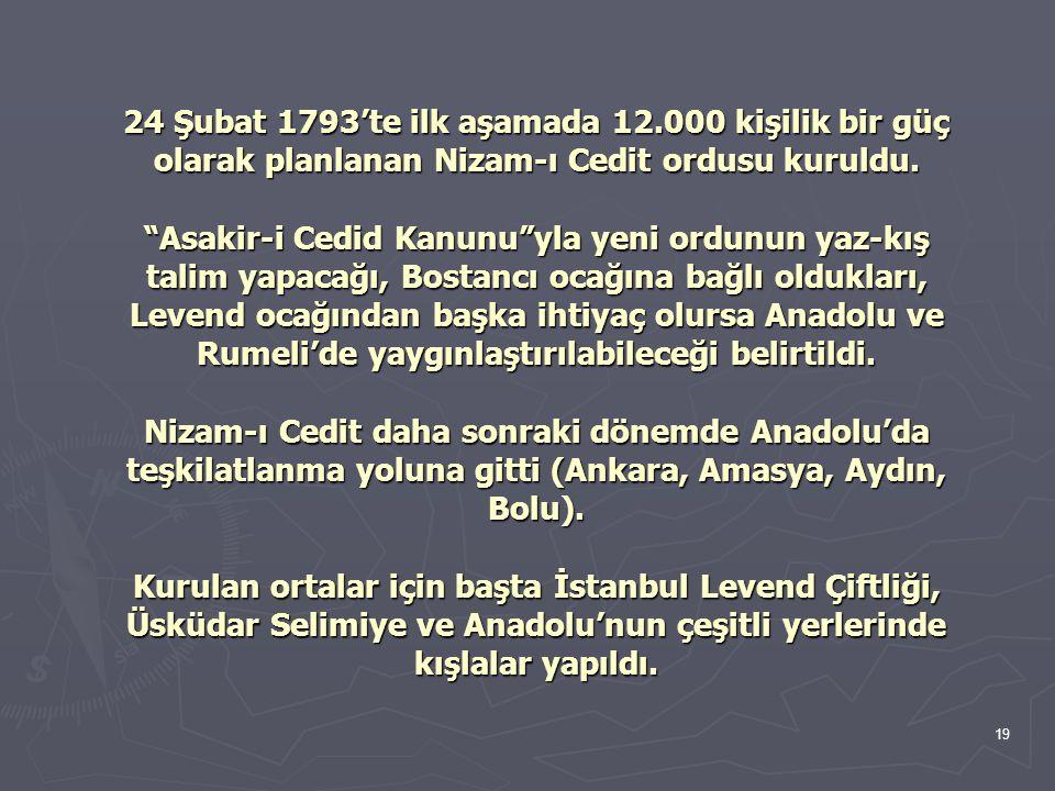 """19 24 Şubat 1793'te ilk aşamada 12.000 kişilik bir güç olarak planlanan Nizam-ı Cedit ordusu kuruldu. """"Asakir-i Cedid Kanunu""""yla yeni ordunun yaz-kış"""