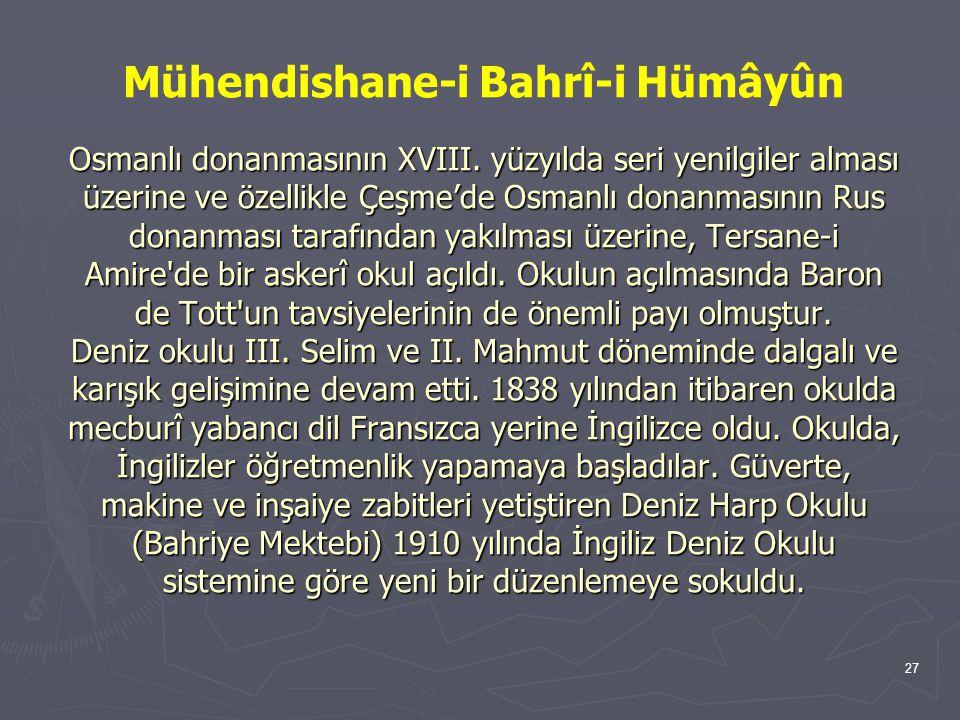 27 Osmanlı donanmasının XVIII.