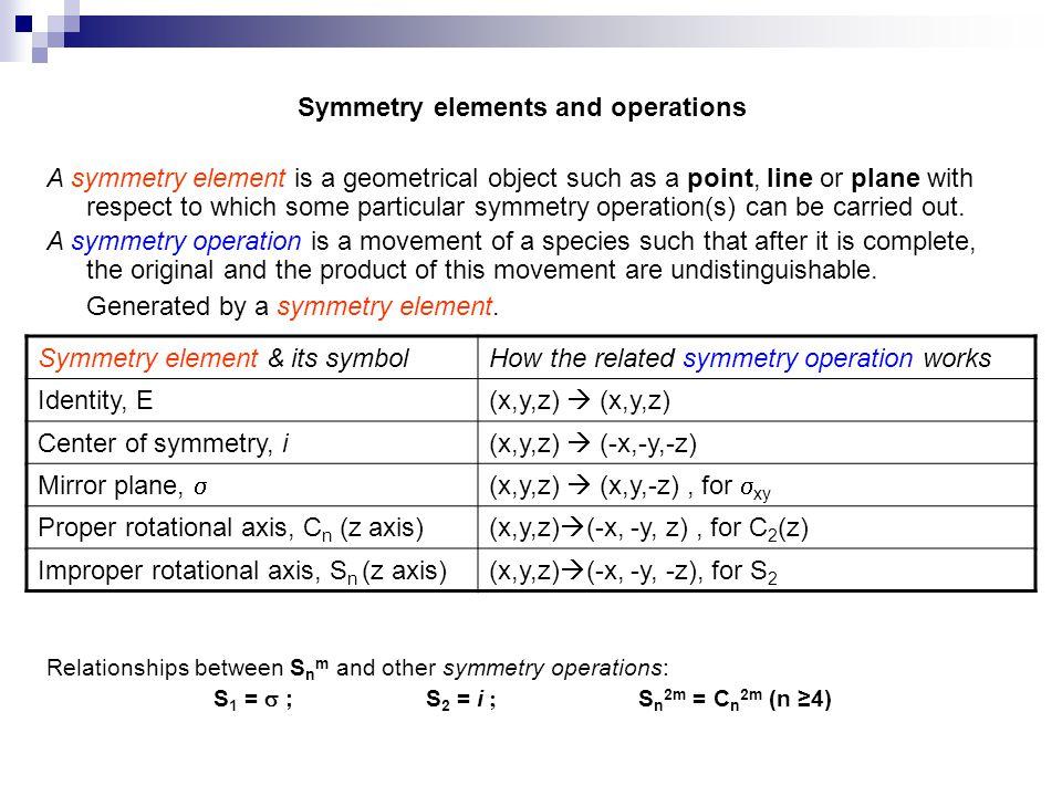 simetri işlemi ve simetri elemanları Cisme veya moleküle bir hareket verildikten sonra eşdeğer veya özdeş konum elde ediliyorsa bu harekete simetri işlemi adı verilir.