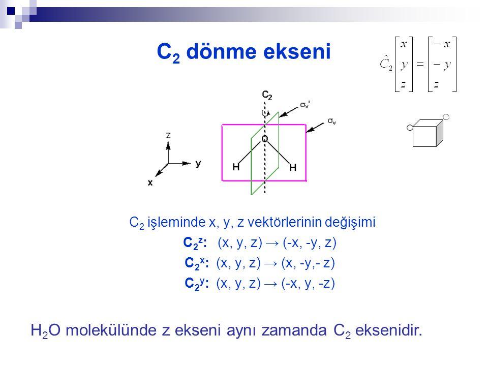 Dönme işlemi (C n )  C n, bir eksen etrafında dönme hareketi C 2 = 180 o dönme C 3 = 120 o dönme C 4 = 90 o dönme C 5 = 72 o dönme C 6 = 60 o dönme Bir molekül birden çok dönme eksenine sahip olabilir.