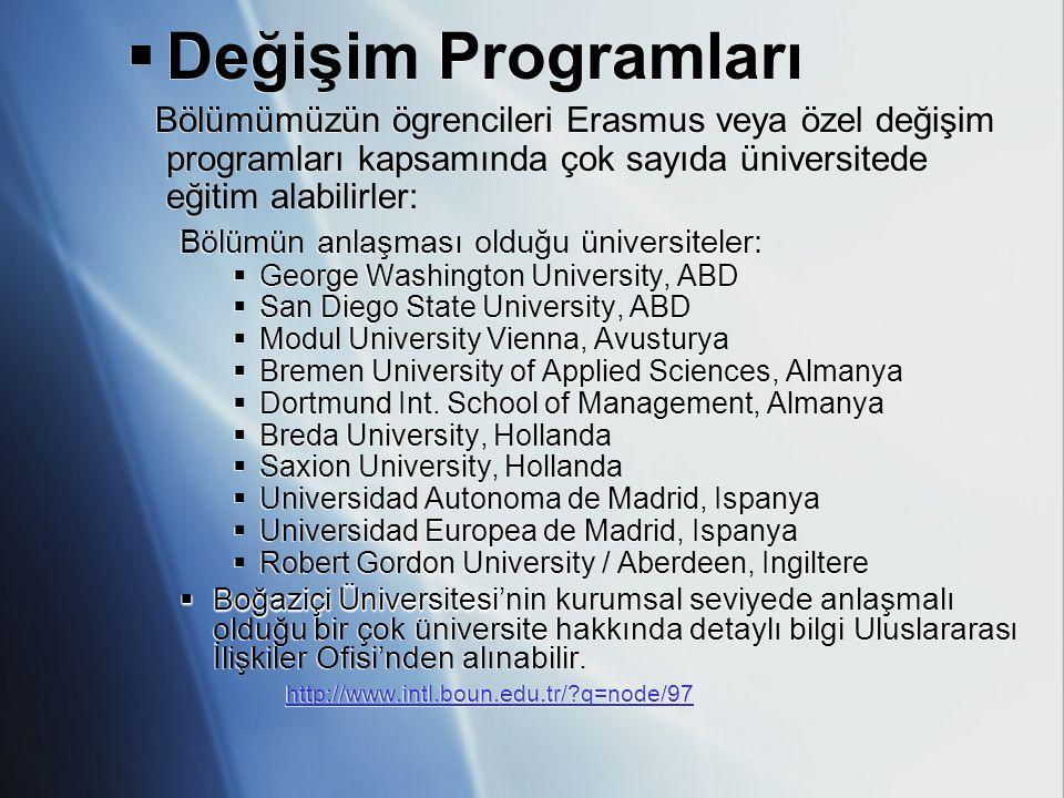  Değişim Programları Bölümümüzün ögrencileri Erasmus veya özel değişim programları kapsamında çok sayıda üniversitede eğitim alabilirler: Bölümün anl