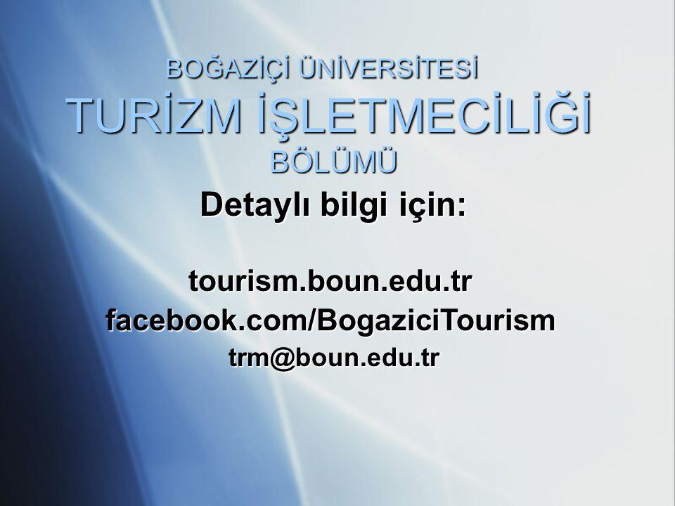 BOĞAZİÇİ ÜNİVERSİTESİ TURİZM İŞLETMECİLİĞİ BÖLÜMÜ Detaylı bilgi için: tourism.boun.edu.trfacebook.com/BogaziciTourismtrm@boun.edu.tr