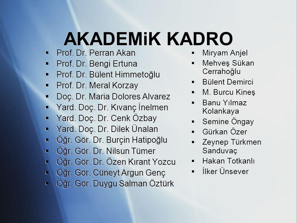 AKADEMiK KADRO  Prof. Dr. Perran Akan  Prof. Dr. Bengi Ertuna  Prof. Dr. Bülent Himmetoğlu  Prof. Dr. Meral Korzay  Doç. Dr. Maria Dolores Alvare
