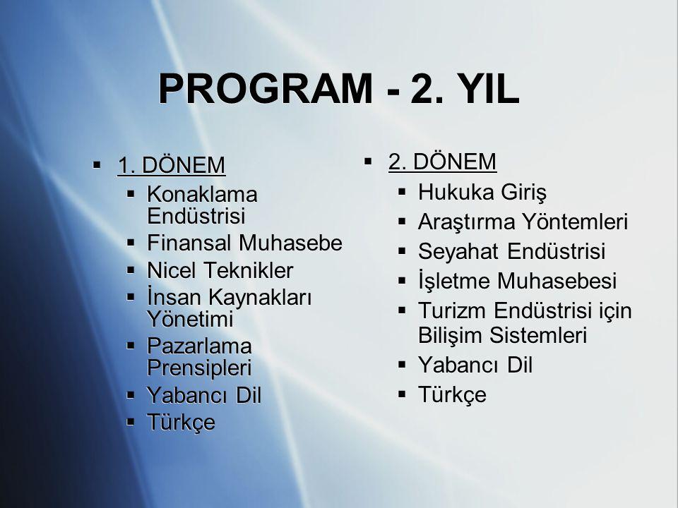 PROGRAM - 2. YIL  1. DÖNEM  Konaklama Endüstrisi  Finansal Muhasebe  Nicel Teknikler  İnsan Kaynakları Yönetimi  Pazarlama Prensipleri  Yabancı