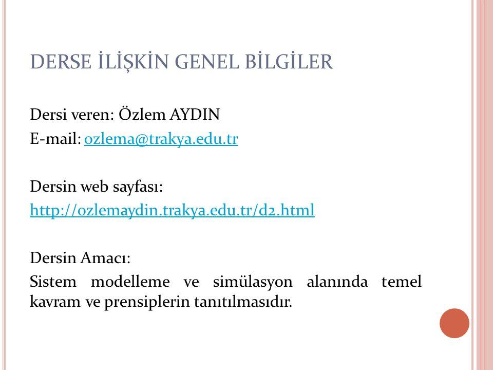 DERSE İLİŞKİN GENEL BİLGİLER Dersi veren: Özlem AYDIN E-mail: ozlema@trakya.edu.trozlema@trakya.edu.tr Dersin web sayfası: http://ozlemaydin.trakya.ed