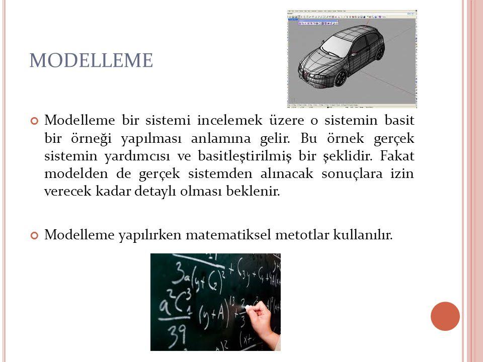 MODELLEME Modelleme bir sistemi incelemek üzere o sistemin basit bir örneği yapılması anlamına gelir. Bu örnek gerçek sistemin yardımcısı ve basitleşt