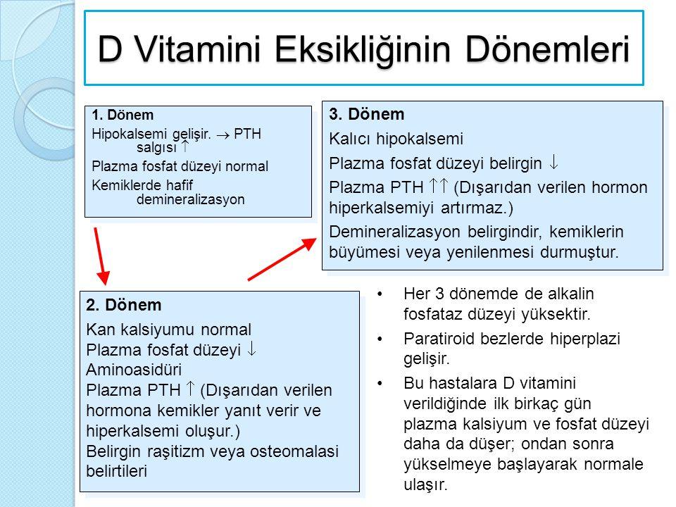 D Vitamini Eksikliğinin Dönemleri 1. Dönem Hipokalsemi gelişir.  PTH salgısı  Plazma fosfat düzeyi normal Kemiklerde hafif demineralizasyon 1. Dönem