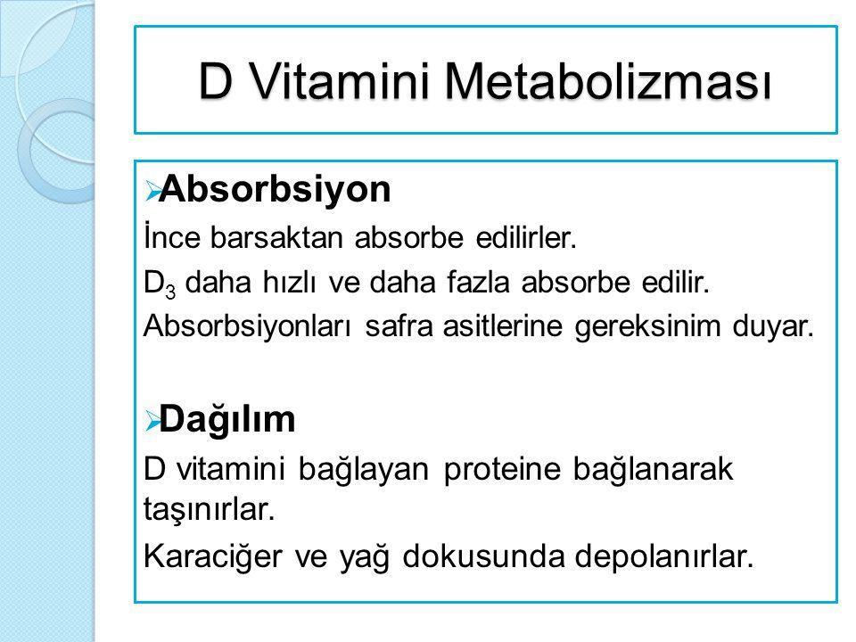 D Vitamini Metabolizması  Absorbsiyon İnce barsaktan absorbe edilirler. D 3 daha hızlı ve daha fazla absorbe edilir. Absorbsiyonları safra asitlerine