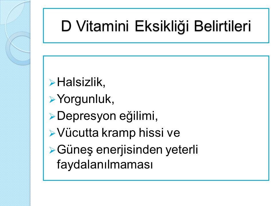 D Vitamini Eksikliği Nedenleri  Nutrisyonel D vitamini eksikliği Yetersiz beslenme Yeterince güneş ışığı alamama D Vitamini Emilimini Engelleyen Hastalıklar İlaçlar Karaciğer ve Böbrek Hastalıkları  Metabolik D vitamini eksiklikleri Kalıtsal olmayan Kalıtsal olan