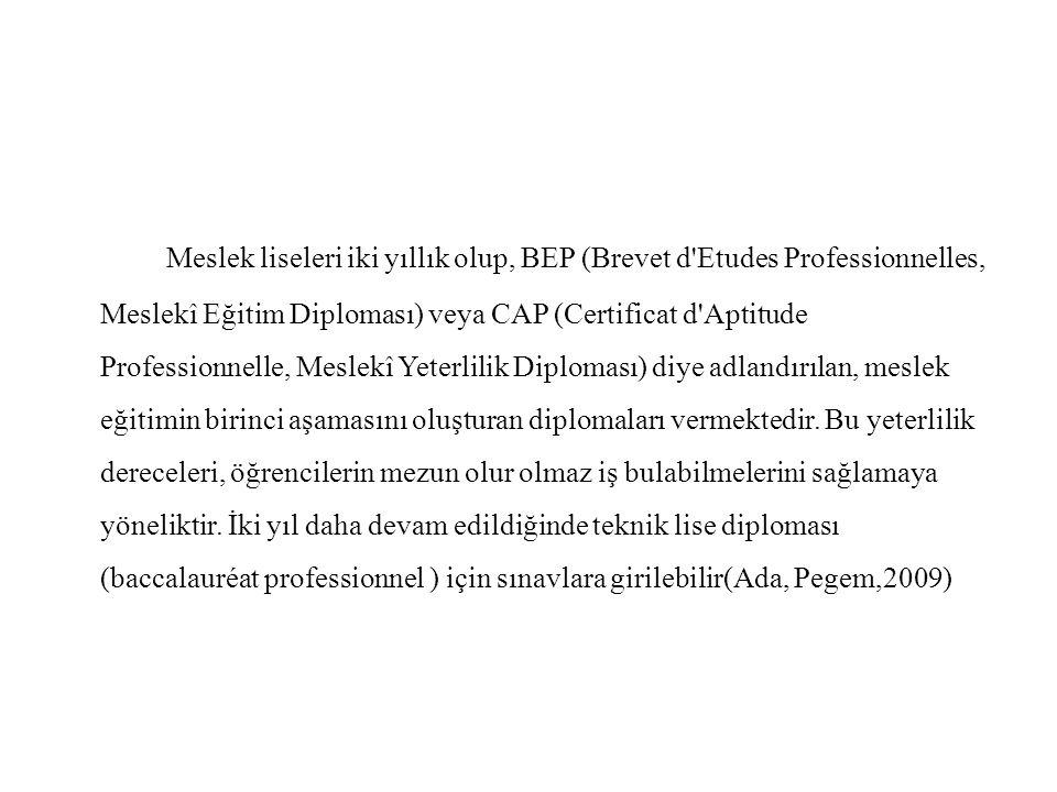Meslek liseleri iki yıllık olup, BEP (Brevet d'Etudes Professionnelles, Meslekî Eğitim Diploması) veya CAP (Certificat d'Aptitude Professionnelle, Mes