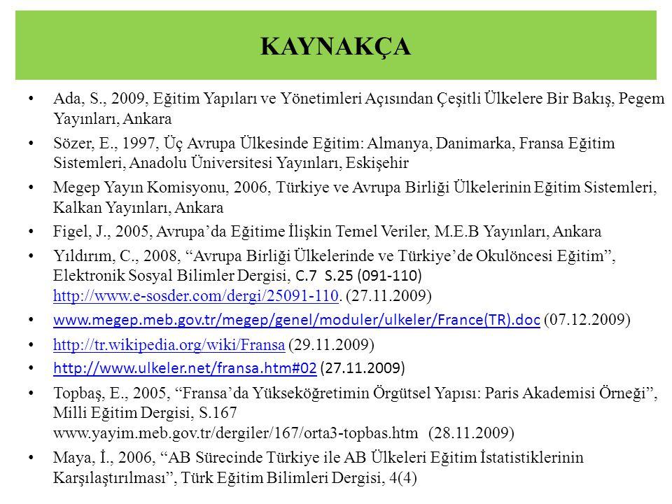 KAYNAKÇA Ada, S., 2009, Eğitim Yapıları ve Yönetimleri Açısından Çeşitli Ülkelere Bir Bakış, Pegem Yayınları, Ankara Sözer, E., 1997, Üç Avrupa Ülkesi