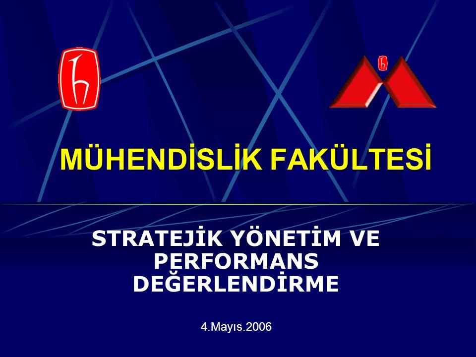 MÜHENDİSLİK FAKÜLTESİ STRATEJİK YÖNETİM VE PERFORMANS DEĞERLENDİRME 4.Mayıs.2006