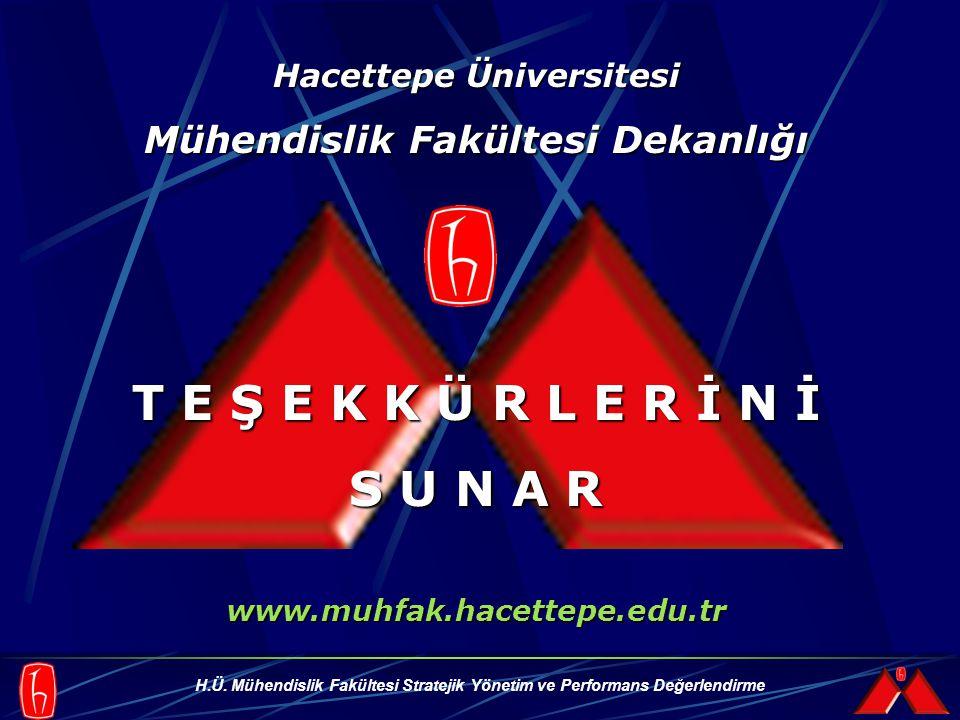 H.Ü. Mühendislik Fakültesi Stratejik Yönetim ve Performans Değerlendirme Hacettepe Üniversitesi Mühendislik Fakültesi Dekanlığı T E Ş E K K Ü R L E R