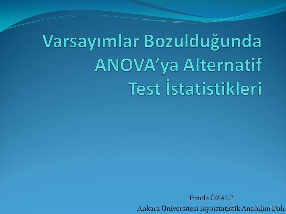 Funda ÖZALP Ankara Üniversitesi Biyoistatistik Anabilim Dalı 1