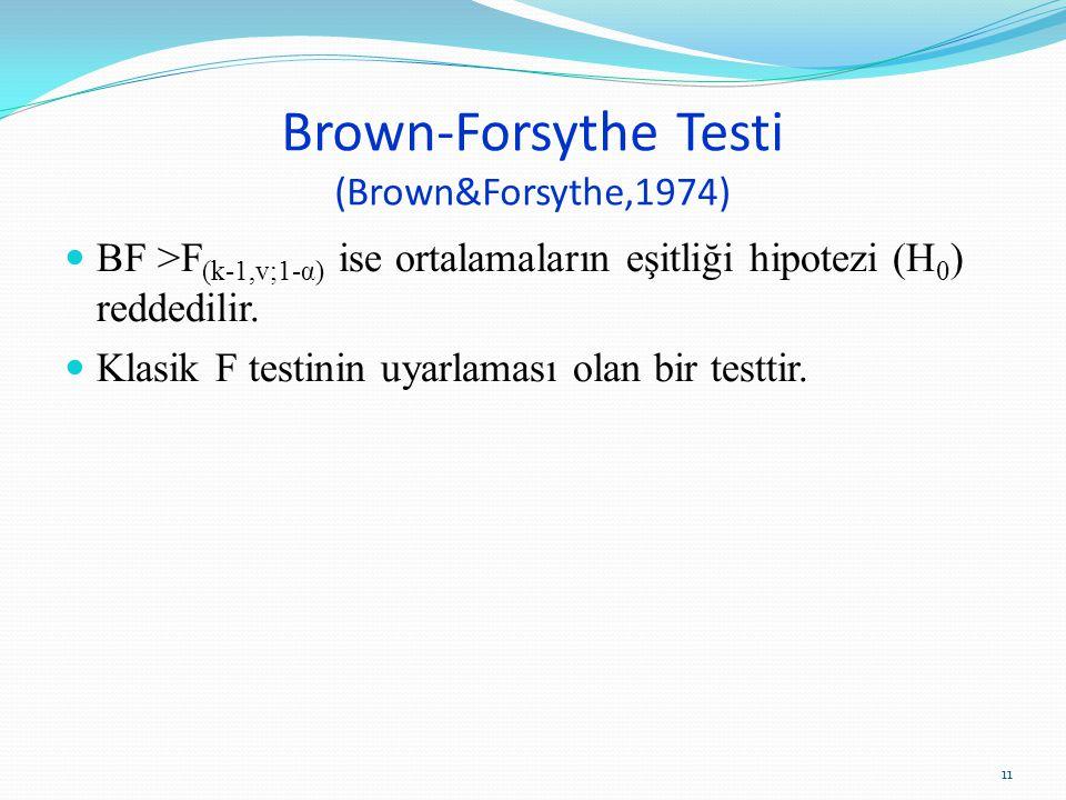 Brown-Forsythe Testi (Brown&Forsythe,1974) BF >F (k-1,v;1-α) ise ortalamaların eşitliği hipotezi (H 0 ) reddedilir.