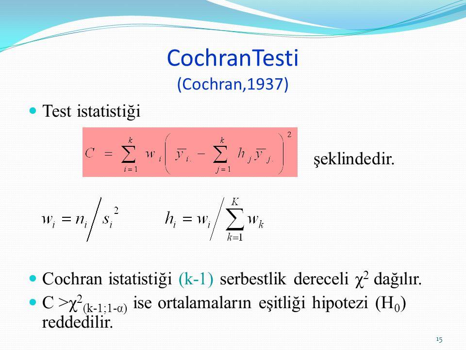 CochranTesti (Cochran,1937) Test istatistiği şeklindedir. Cochran istatistiği (k-1) serbestlik dereceli χ 2 dağılır. C >χ 2 (k-1;1-α) ise ortalamaları