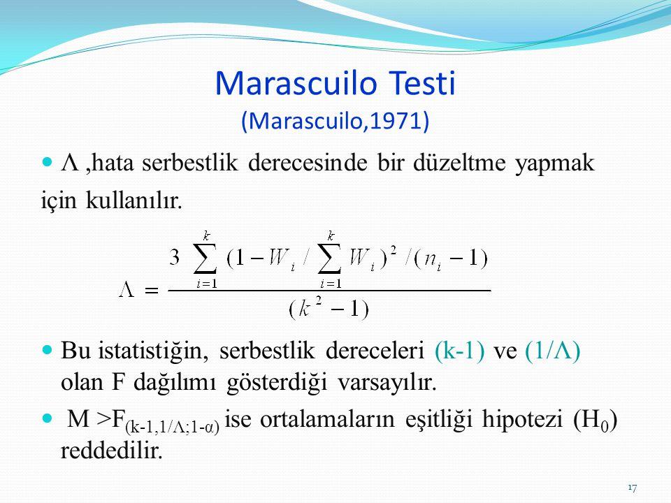 Marascuilo Testi (Marascuilo,1971) Λ,hata serbestlik derecesinde bir düzeltme yapmak için kullanılır. Bu istatistiğin, serbestlik dereceleri (k-1) ve