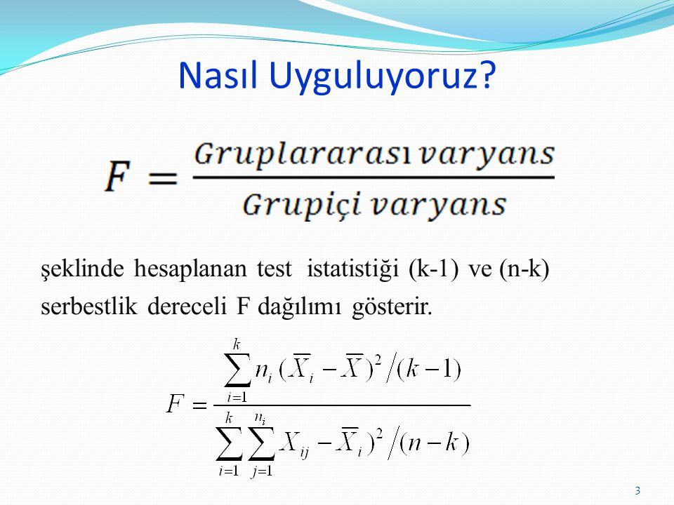 Nasıl Uyguluyoruz? şeklinde hesaplanan test istatistiği (k-1) ve (n-k) serbestlik dereceli F dağılımı gösterir. 3