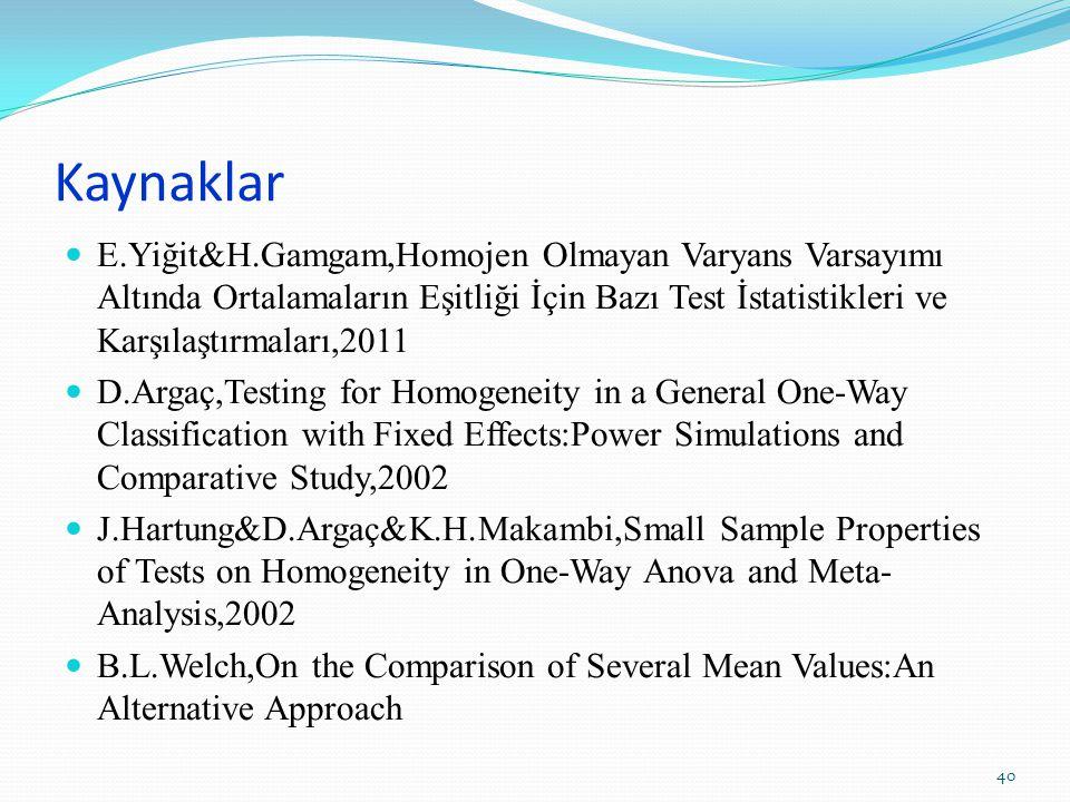 Kaynaklar E.Yiğit&H.Gamgam,Homojen Olmayan Varyans Varsayımı Altında Ortalamaların Eşitliği İçin Bazı Test İstatistikleri ve Karşılaştırmaları,2011 D.