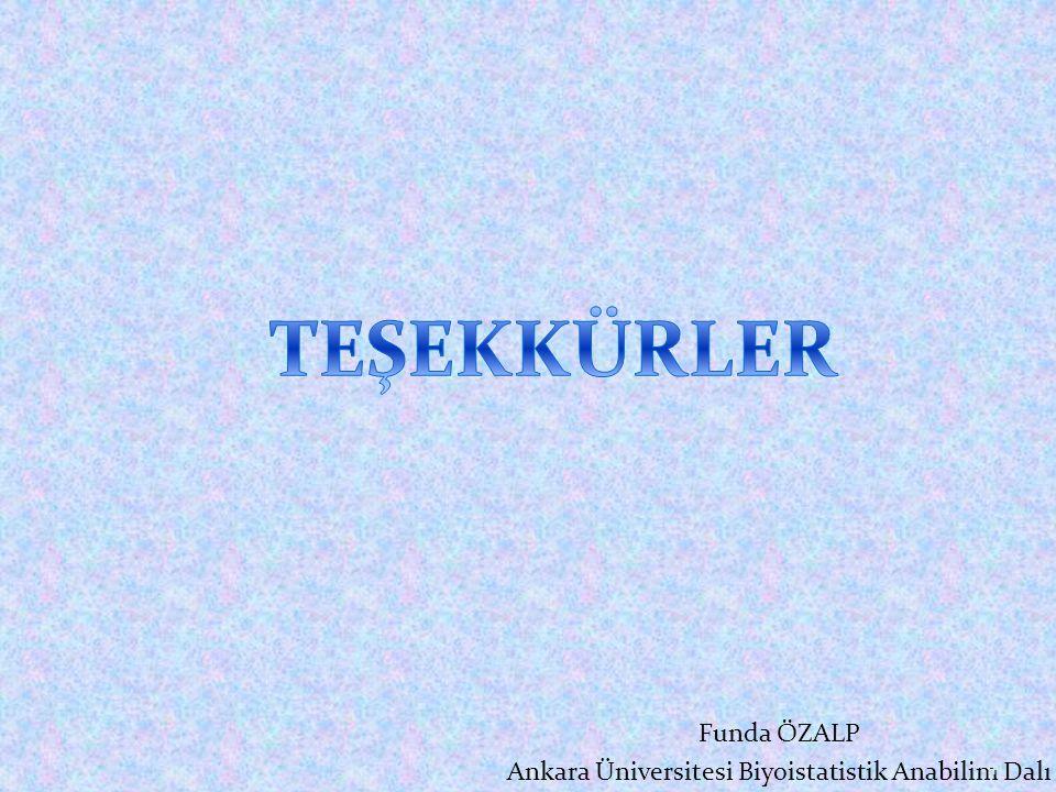 Funda ÖZALP Ankara Üniversitesi Biyoistatistik Anabilim Dalı 41