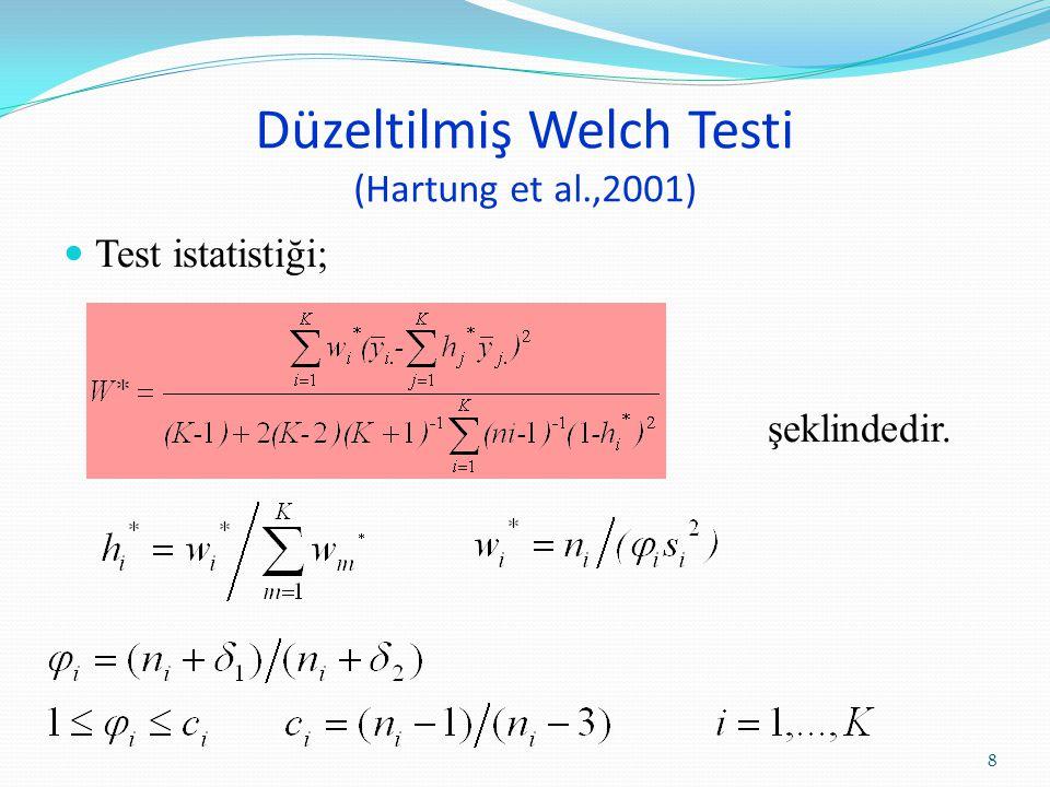 Düzeltilmiş Welch Testi (Hartung et al.,2001) W*, yaklaşık olarak (K-1) ve v w* serbestlik dereceli olan F dağılımı gösterir.