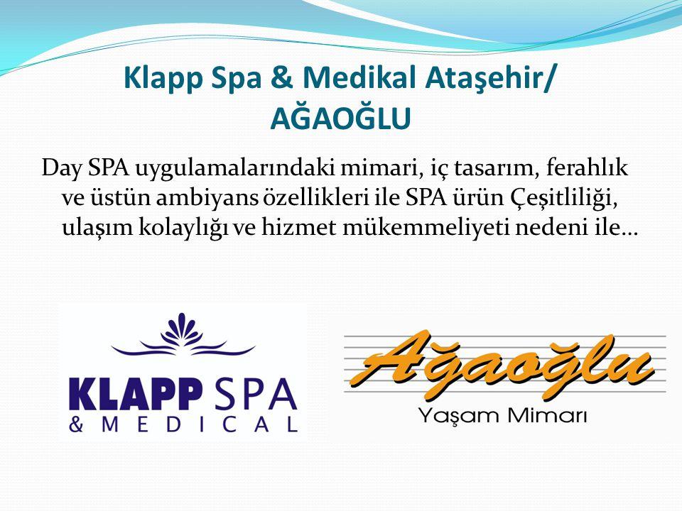 Klapp Spa & Medikal Ataşehir/ AĞAOĞLU Day SPA uygulamalarındaki mimari, iç tasarım, ferahlık ve üstün ambiyans özellikleri ile SPA ürün Çeşitliliği, ulaşım kolaylığı ve hizmet mükemmeliyeti nedeni ile…