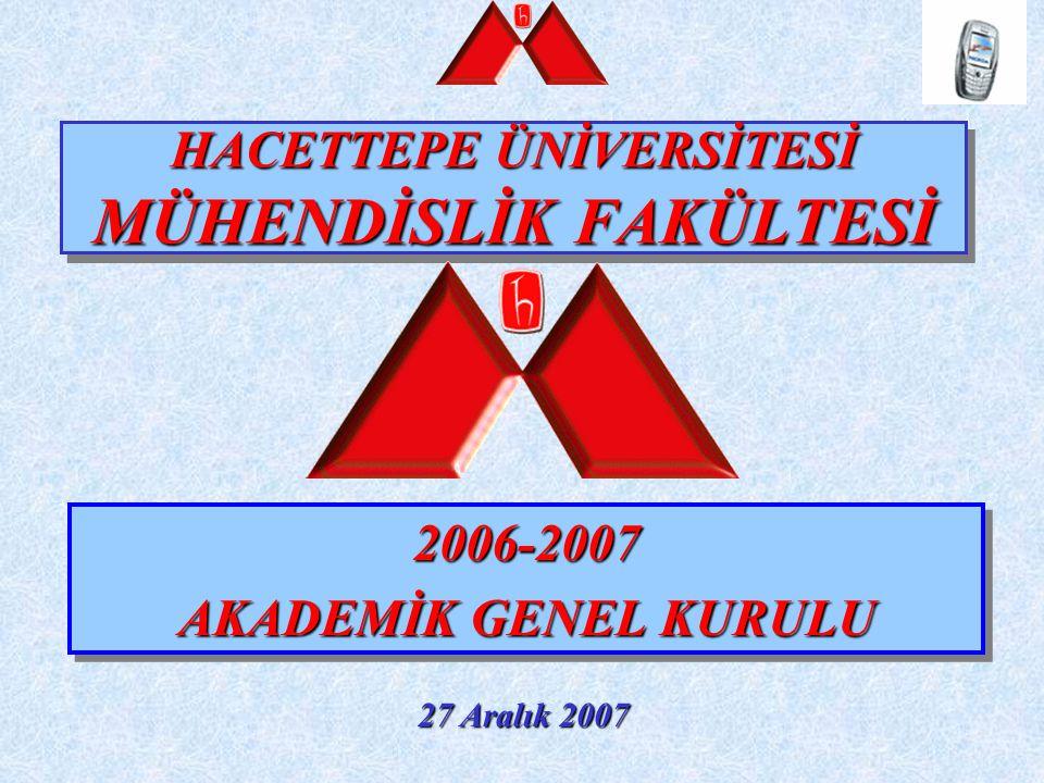 HACETTEPE ÜNİVERSİTESİ MÜHENDİSLİK FAKÜLTESİ 2006-2007 AKADEMİK GENEL KURULU 2006-2007 AKADEMİK GENEL KURULU 27 Aralık 2007