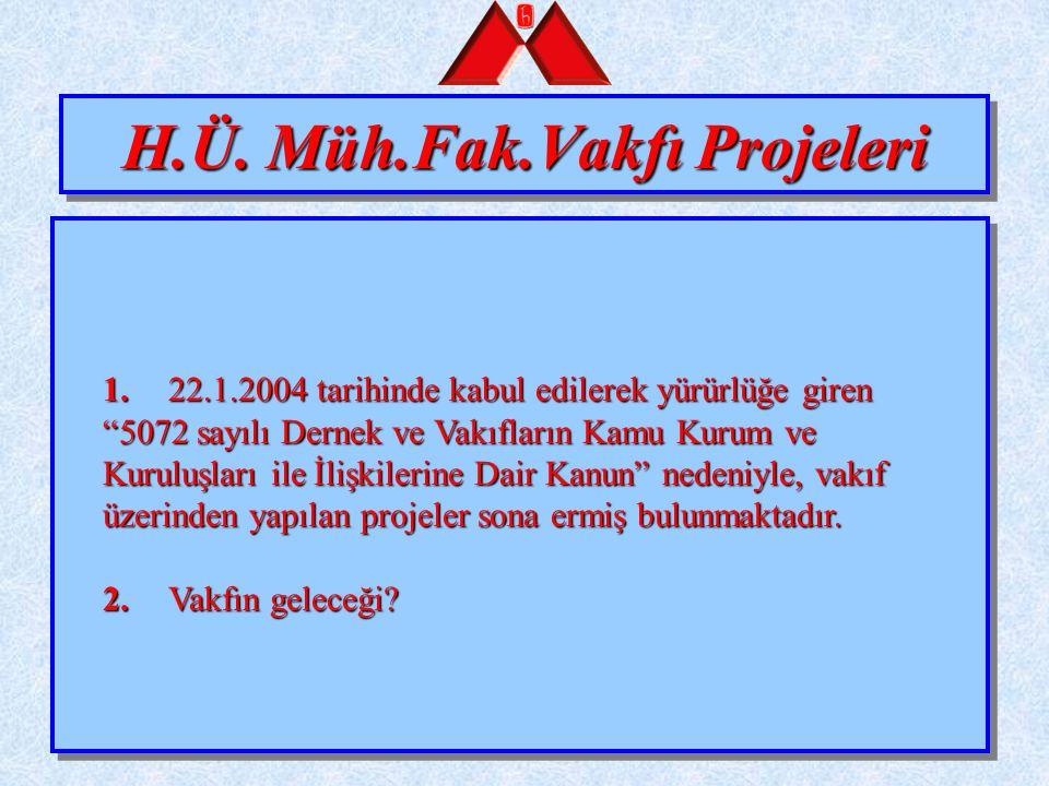 """H.Ü. Müh.Fak.Vakfı Projeleri 1.22.1.2004 tarihinde kabul edilerek yürürlüğe giren """"5072 sayılı Dernek ve Vakıfların Kamu Kurum ve Kuruluşları ile İliş"""