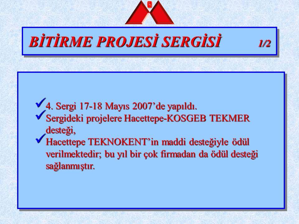 BİTİRME PROJESİ SERGİSİ 1/2 4. Sergi 17-18 Mayıs 2007'de yapıldı. 4. Sergi 17-18 Mayıs 2007'de yapıldı. Sergideki projelere Hacettepe-KOSGEB TEKMER de