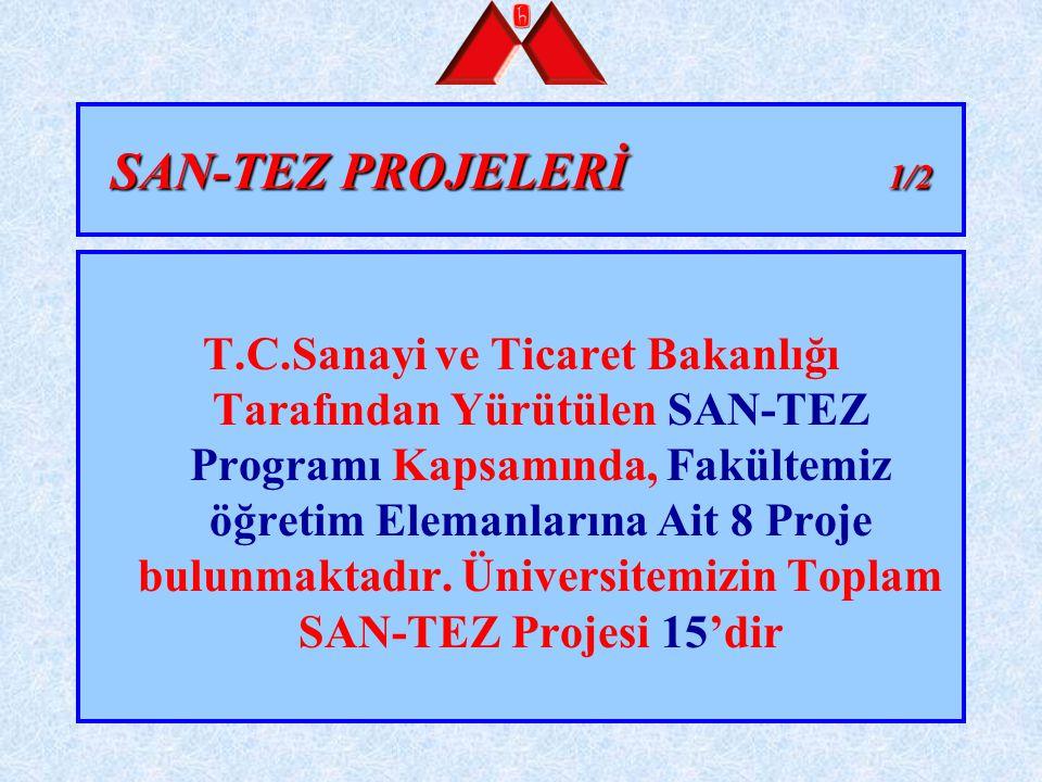 SAN-TEZ PROJELERİ 1/2 T.C.Sanayi ve Ticaret Bakanlığı Tarafından Yürütülen SAN-TEZ Programı Kapsamında, Fakültemiz öğretim Elemanlarına Ait 8 Proje bu