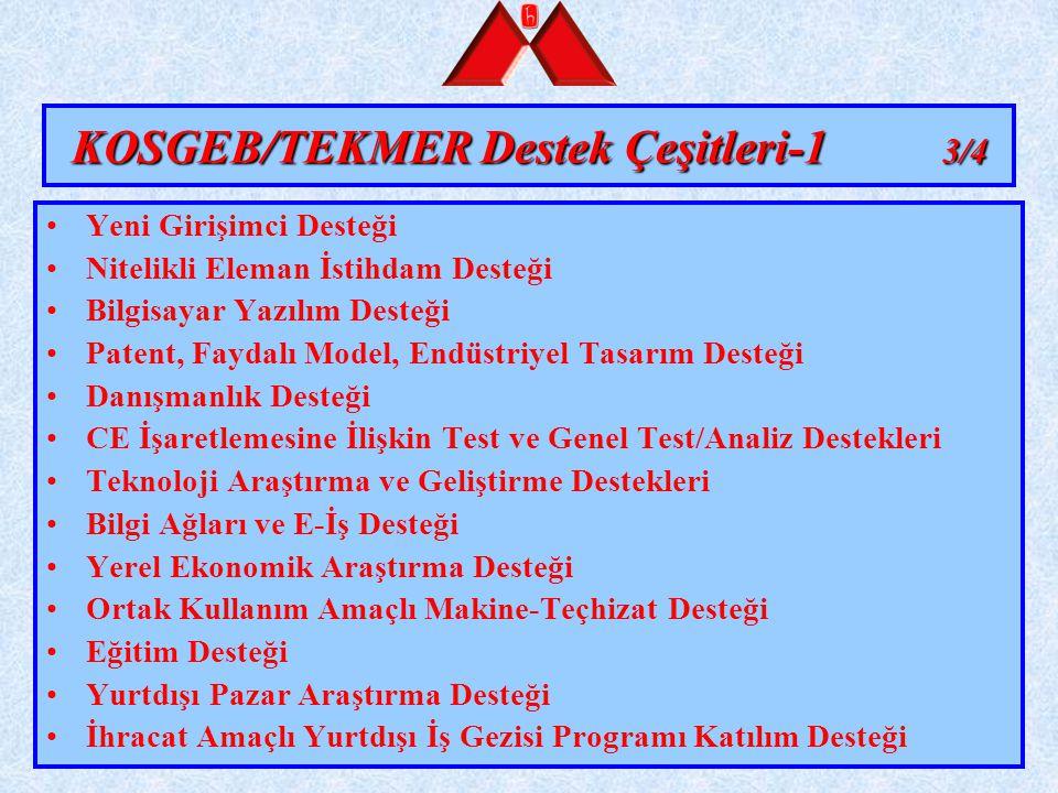 KOSGEB/TEKMER Destek Çeşitleri-1 3/4 Yeni Girişimci Desteği Nitelikli Eleman İstihdam Desteği Bilgisayar Yazılım Desteği Patent, Faydalı Model, Endüst